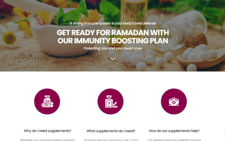 Oxy companies Food Supplement Landing Page