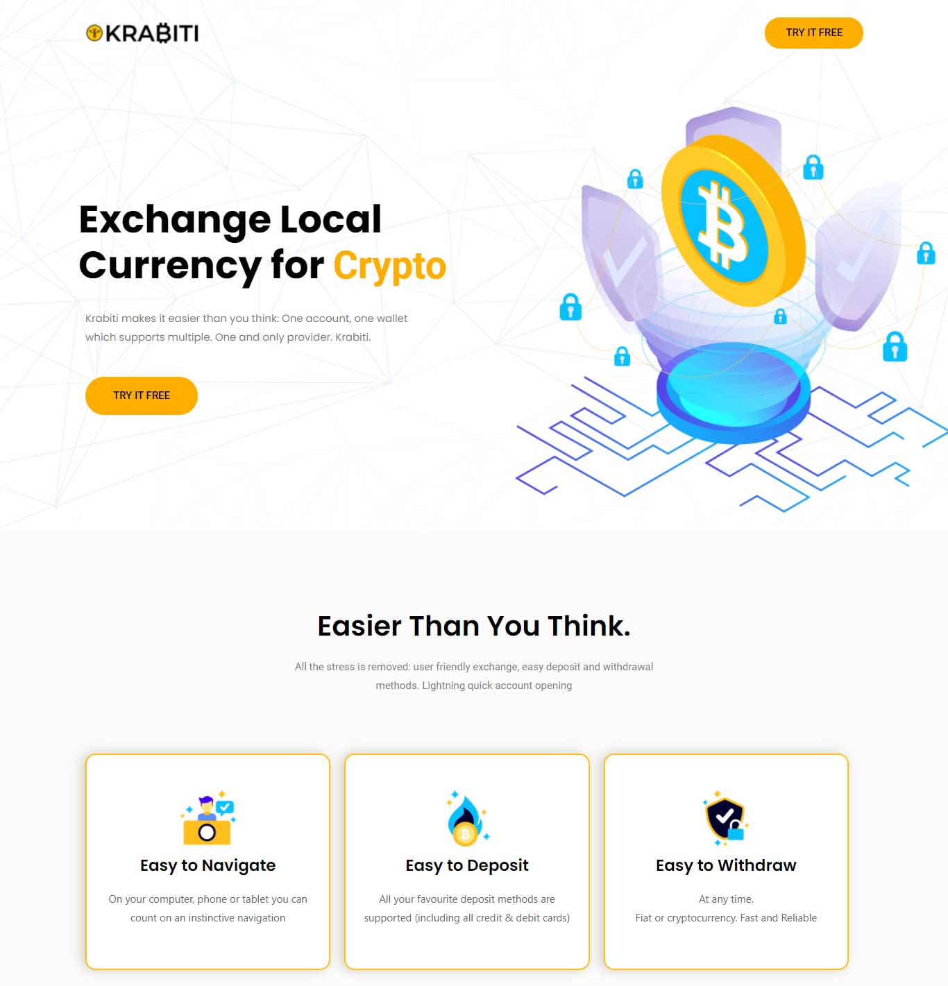 Crypto Currency Exchange Landing Page for Krabiti